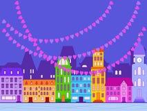 Иллюстрация в плоском стиле на день любовников Стоковое Изображение RF