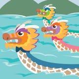 Иллюстрация гонок шлюпки дракона иллюстрация штока