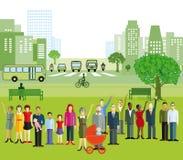 Иллюстрация города и людей Стоковые Изображения RF