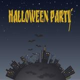 Иллюстрация города на ноче с летучими мышами примечания лунного света halloween летучей мыши предпосылки Стоковая Фотография