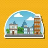 Иллюстрация города природы, дизайна вектора, здания и недвижимости связала Стоковые Фото