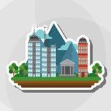 Иллюстрация города природы, дизайна вектора, здания и недвижимости связала Стоковое фото RF