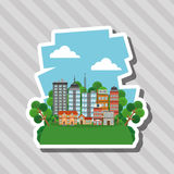 Иллюстрация города природы, дизайна вектора, здания и недвижимости связала Стоковое Изображение