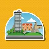 Иллюстрация города природы, дизайна вектора, здания и недвижимости связала Стоковое Изображение RF