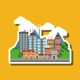 Иллюстрация города природы, дизайна вектора, здания и недвижимости связала Стоковая Фотография RF