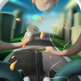 Иллюстрация города солнечного дня молодых человеков Стоковые Фото