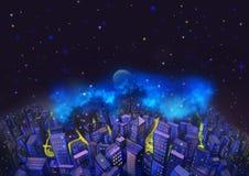 Иллюстрация: Город и фантастическая звездная ночь С летучей рыбой в небе Хорошая карточка желания соотвествующая для любого событ иллюстрация вектора