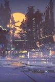 Иллюстрация, город научной фантастики Стоковое Изображение