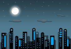 Иллюстрация - город ночи. Стоковая Фотография