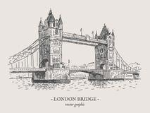Иллюстрация года сбора винограда вектора моста Лондона Стоковое Изображение RF