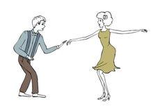 Иллюстрация года сбора винограда пар танцев Стоковая Фотография RF