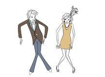 Иллюстрация года сбора винограда пар танцев Стоковое Изображение RF