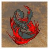 Иллюстрация года сбора винограда скорпиона иллюстрация штока