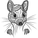 Иллюстрация головного вектора крысы или мыши животная для футболки Стоковые Изображения