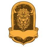 Иллюстрация головы Викинга эмблемы Стоковое Изображение RF