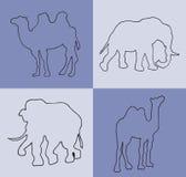 иллюстрация Голубая предпосылка с верблюдами и слонами Стоковое фото RF