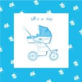 Иллюстрация голубого pram с ниппелями Стоковые Изображения