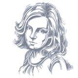 Иллюстрация графического вектора нарисованная вручную белой кожи привлекательная иллюстрация вектора