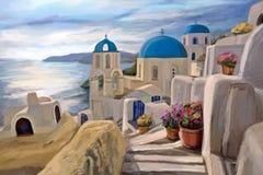 Иллюстрация греческий городок Стоковая Фотография