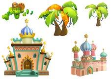 Иллюстрация: Дизайн элементов темы пустыни установил 3 Имущества игры Дом, дерево, кактус, каменная статуя