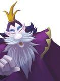 Иллюстрация: Добросердечный король Викинга с кроной; Король карлика; Большая борода Стоковое фото RF