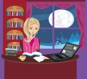 Иллюстрация девушки делая домашнюю работу Стоковое Фото