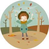 Иллюстрация девушки и лист падают в круг бесплатная иллюстрация