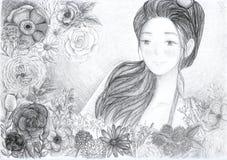 Иллюстрация девушки и цветка Стоковые Фотографии RF