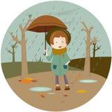 Иллюстрация девушки под зонтиком иллюстрация штока