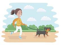 Иллюстрация девушки принимая ее собаку для прогулки Стоковое фото RF