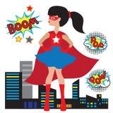 Иллюстрация девушки супергероя Стоковые Изображения