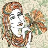 Иллюстрация девушки с красочными волосами Стоковые Фото