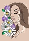Иллюстрация девушки с цветками в ее волосах, чертеже руки Стоковые Изображения RF