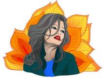 иллюстрация девушки eps 8 осеней над белизной вектора Стоковая Фотография RF
