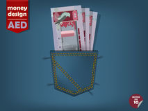 Иллюстрация денег дирхама Объединенных эмиратов в карманн голубых джинсов Стоковое Изображение RF