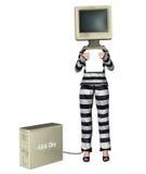 Иллюстрация денег офиса компании заключенная в тюрьму хищением Стоковое Изображение