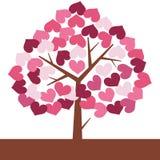 Иллюстрация дерева влюбленности валентинки в форме сердца Стоковое Изображение