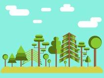 Иллюстрация леса дерева лета плоская Стоковое фото RF