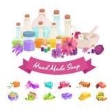 Иллюстрация естественного Handmade вектора мыла и оливок Стоковое Фото