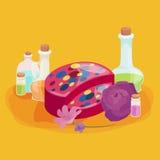 Иллюстрация естественного Handmade вектора мыла и оливок Стоковые Изображения