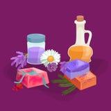 Иллюстрация естественного Handmade вектора мыла и оливок Стоковая Фотография RF