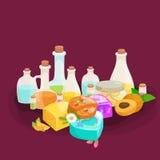 Иллюстрация естественного Handmade вектора мыла и оливок Стоковые Изображения RF