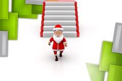 иллюстрация лестниц santa человека 3d Стоковая Фотография RF