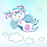 Иллюстрация летать смешная корова в небе с облаками Стоковые Фотографии RF