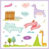 Иллюстрация лета или весны с смешными животными Стоковые Изображения