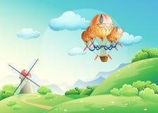 Иллюстрация лета fields с воздушным шаром в небе иллюстрация штока