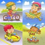 Иллюстрация детей играя различные спорты бесплатная иллюстрация