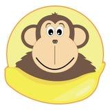 Иллюстрация детей обезьяны с бананом Стоковое фото RF