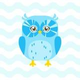 Иллюстрация детского душа с милым сычом голубого младенца на голубом backgro Стоковые Изображения