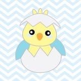 Иллюстрация детского душа с милым цыпленоком голубого младенца на предпосылке шеврона Стоковые Изображения